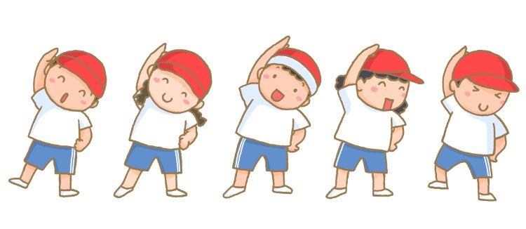 ラジオ体操をする5人の子供