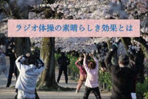 桜の下でラジオ体操をしている人々