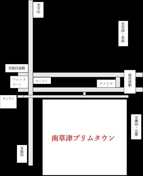 プリムタウン周辺の地図