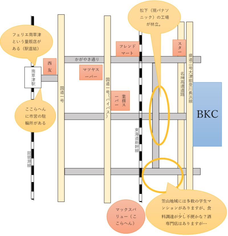 BKC周辺の地図