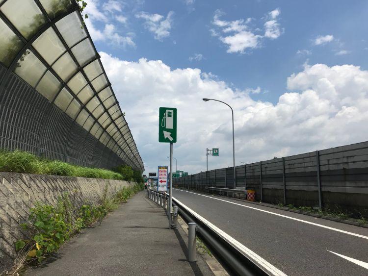 草津パーキングエリア(上り)第2パーキングエリアへ移動する歩道