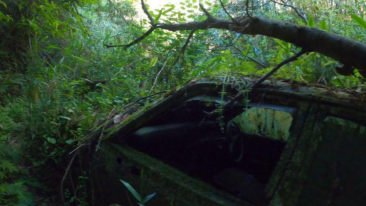 旧佐和山隧道の道中にある廃車